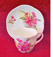 Dainty miniature cup and saucer 'Stocks' pattern