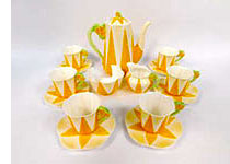 Yellow Dainty floral handled coffee set