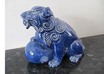 Wileman Faience Dog of Foo blue by Frederick Rhead