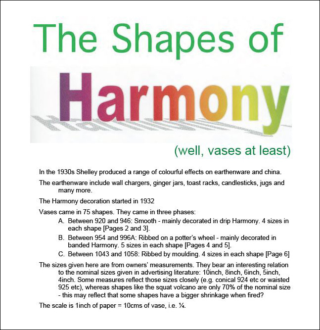 Title page for Chris Watkins study of Harmony Vase Shapes