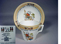 Shelley China Brytaware Humpty Dumpty Cup Saucer and backstamp