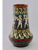 wWileman intarsio vase with musical cherubs No. 3001
