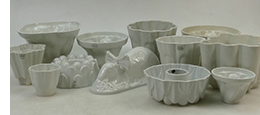 collection of Shelley jelly moulds