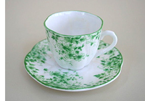 Shelley miniature Dainty Green cup and saucer