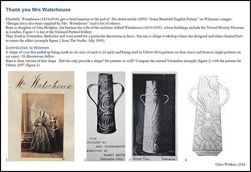 Front page of Chris Watkins study of vase shapes by Elizabeth Waterhous