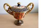 Wileman twin handled Old Chelsea lidded vase