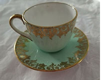 Shelley pale green miniature cup and saucer