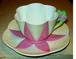 Shelley Dainty pink floral handled cup and saucer