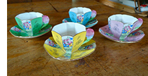 Queen Anne floral handled cups and saucers