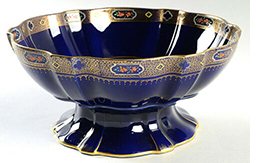 Shelley cobalt blue bowl decorated with Archway of Roses