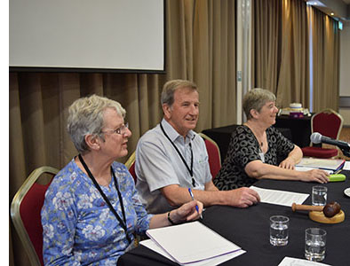 Sheila Aves Gerry Pearce and Linda Ellis at the 2017 AGM