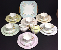 Shelley Harlequin and Floral 21 piece teaset