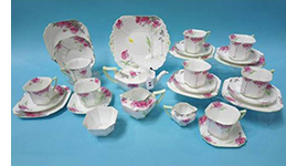 Shelley tea set Pricess shape with poppy pattern