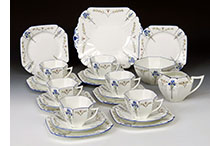 Shelley queen anne blue iris 12 person tea set
