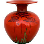Flamboyant round vase with flared top