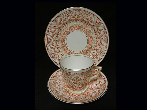 Victoria shape cup and saucer red