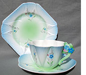 Shelley floral handled blue trio c.1932
